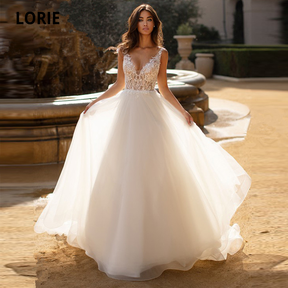 Booma 2020 New Spring Tulle Wedding Dresses A-Line Lace Appliques Bridal Gowns V-Neck Sleeveless Backless Vestido De Noiva
