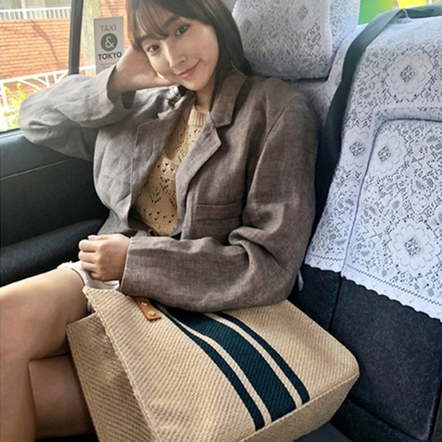 Simple Fashion Large-capacity Handbag For Ladies Vintage Striped Tote For Female Portable Ol Business Briefcase Korean Style 3