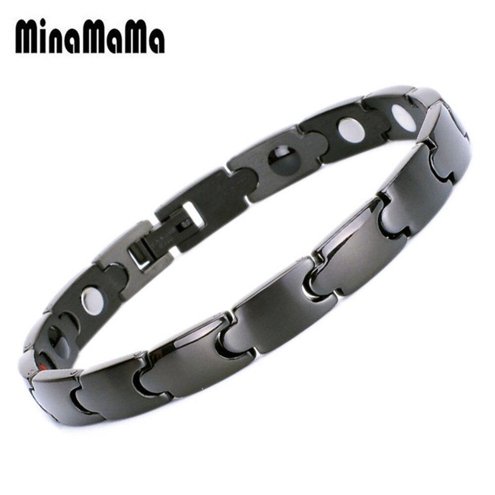 Black Healing Magnet Bracelet For Women Men Stainless Steel Health Care Magnetic Germanium Energy Power Bracelt Casual Jewelry