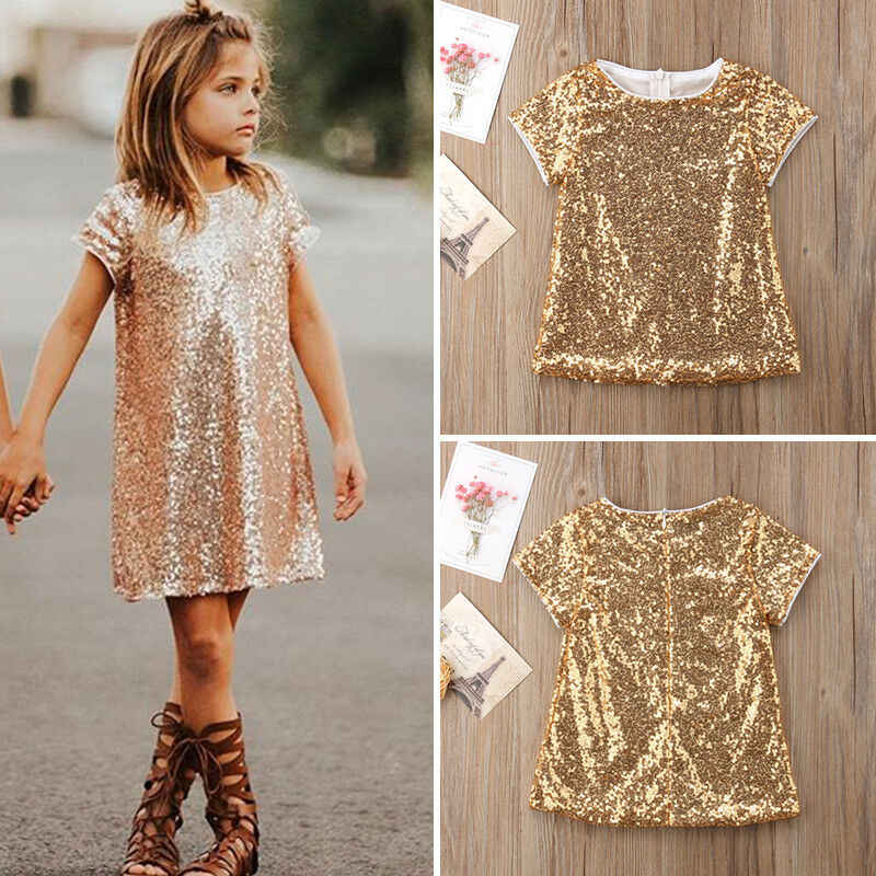 Summer High Street Baby Kids Girl Gold Sequins Straight Dress Party Gown Princess Dresses Clothes Short Sleeve Baby Costume