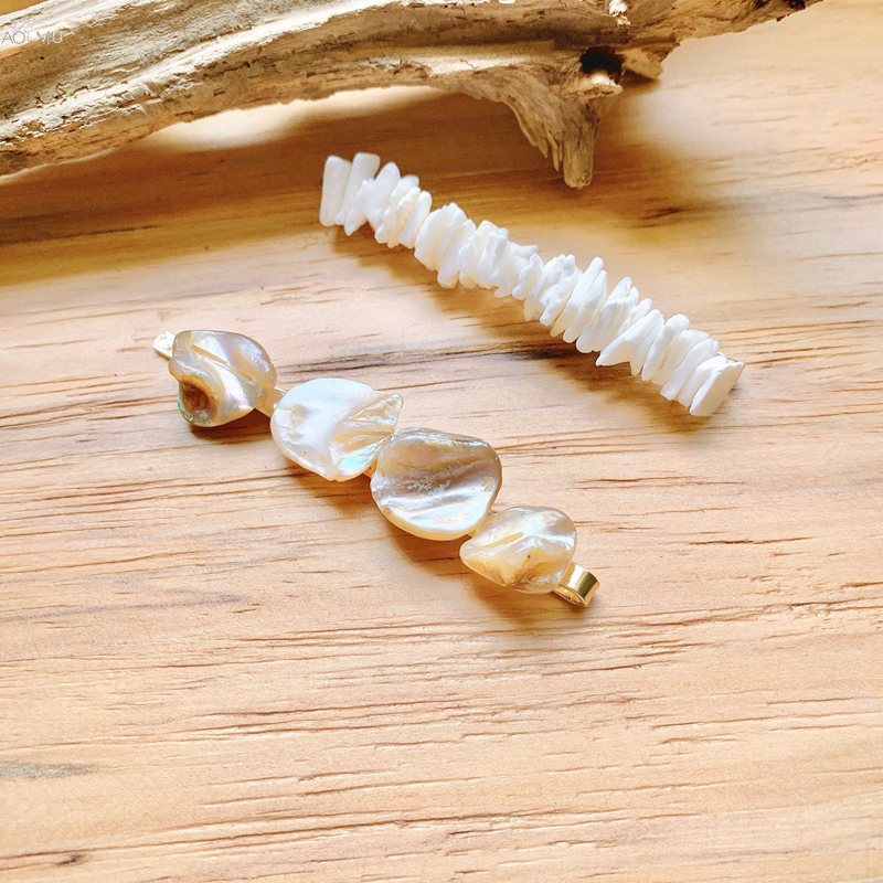 AOMU 1PC 2019 New Irregular Shell Pearl Hairpins Hair Clips For Women Metal Gold Color Hair Pins Hair Accessories Jewelry