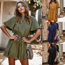 Women High Waist Drawstring Solid Color Ruffled Short Sleeve Jumpsuit Round Neck Short Pants Female Sexy Holiday Beach Rompers active round neck drawstring waist tracksuit in beige