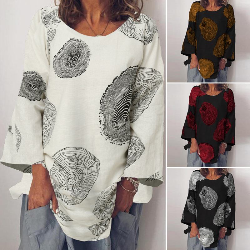 Fashion Summer Shirt ZANZEA Women Long Sleeve Solid Cotton Linen Blouse Blusas Femininas Basic Tops Robe Loose Chemise Tunic 5XL(China)