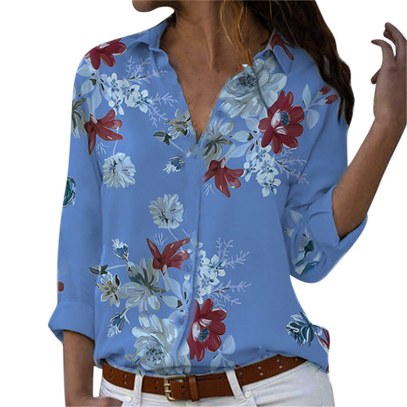 New Autumn Women Blouse Plus Size Women Blouse Fashion Woman Turn-Down Collar Floral Print Shirts Casual Long Sleeve Button Tops