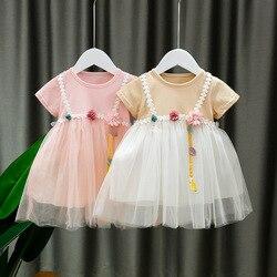 Moda flor de manga curta bebê meninas vestidos verão roupas rendas princesa bonito vestido algodão bebê 0-24 meses menina vestido pano