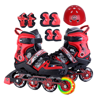 New Quality Children Inline Skate Roller Skating Shoes Helmet Knee Protector Adjustable PU Wheels Teenagers Multipurpose Patines цена 2017