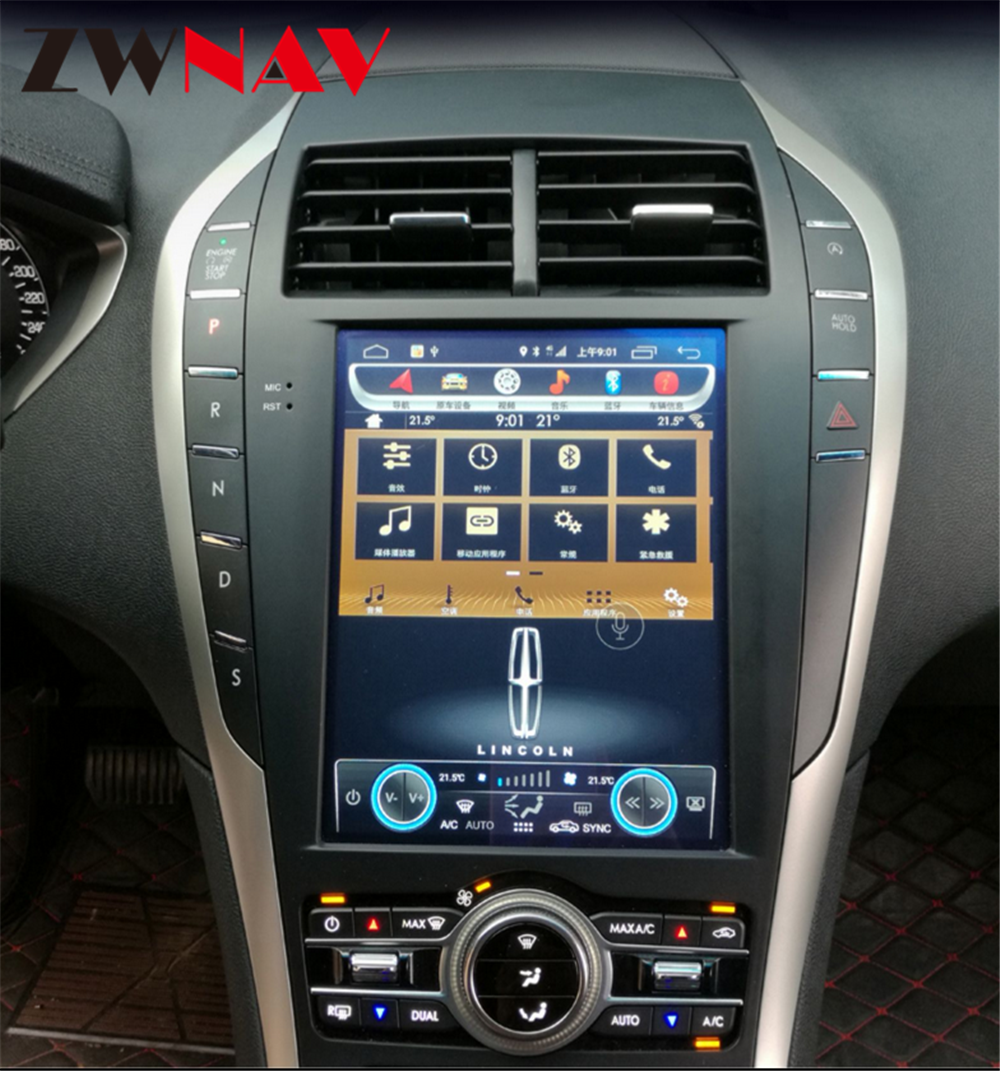 Tesla style octa core Android Car gps navigation For Lincoln MKC MKZ car audio radio stereo multimedia player head unit free map image