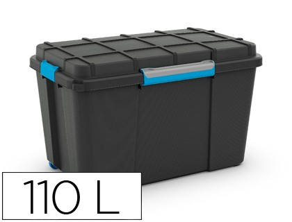 PLASTIC CONTAINER CEP SCUBA 110 LITER 460X445X735 MM WITH 4 ASAs AND WHEELS