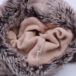 Image 5 - Bombacı şapkalar kadınlar kış yün kasketleri kaşmir kış kulaklığı şapka Faux tavşan kürk ponpon rus Ushanka Trapper polar kar kayak kapaklar