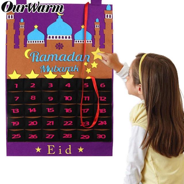 OurWarm EID Mubarak Calendario de fieltro DIY, pegatina de estrella dorada para colgar en la pared del hogar, Balram musulmán, fiesta de Festival de Ramadán Kareem