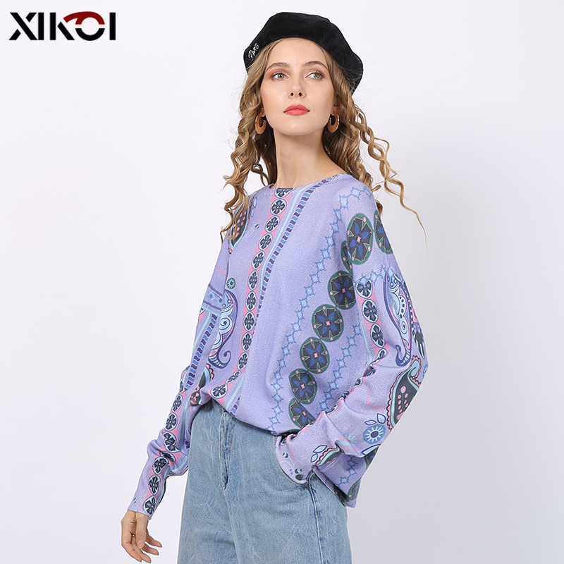 XIKOI Lavender Purple Sweaters For Women Winter Romantic Flowers Print Pullovers Oversized Bohemian Style Jumper Tops Pull Femme