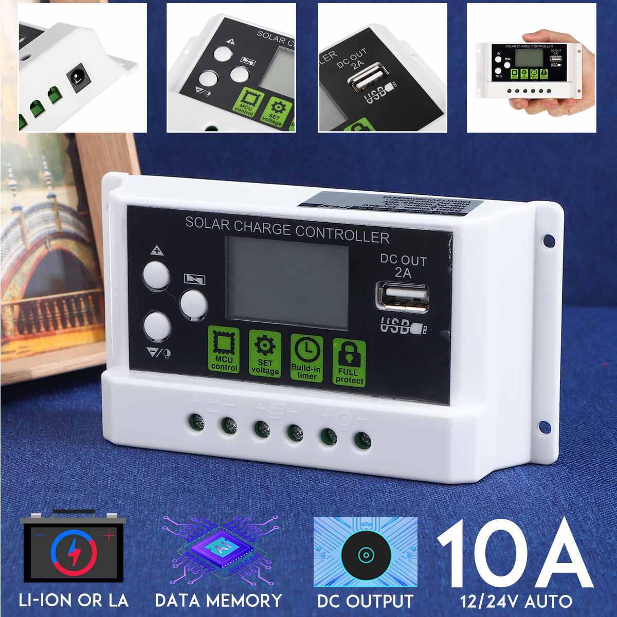 10a 12v 24v controlador de carga solar automatico pwm com lcd painel de celula solar regulador