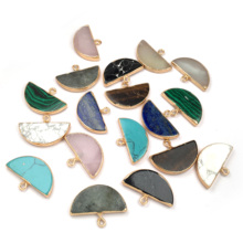 LE SKY New Semicircle Shape Natural Gems Pendants & Necklace Charms Stone for Jewelry Making DIY 18x27