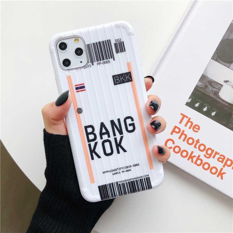 Lüks bavul etiket barkod iphone için kılıf 11 Pro Xs MAX XR X 6 s 7 8 artı INS abd şehir beyaz basit yumuşak silikon kapak Coque