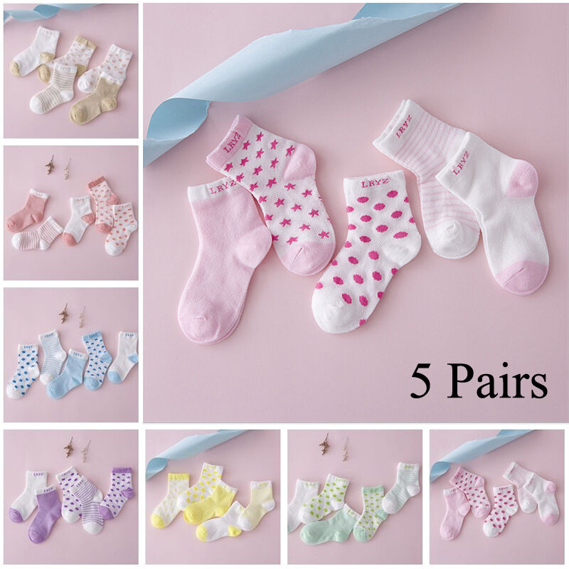 5 Pairs/Lot Infant Baby Toddler BOY Socks Cotton 0~5Y Girl Cartoon NewBorn Kids Socks