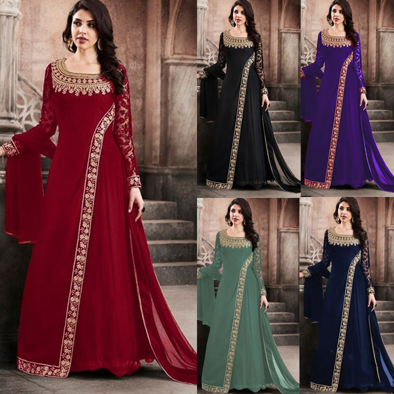 Femmes 2020 nouvelle mode à manches longues Renaissance médiévale robe Vintage pansement dames agriculteur à manches longues robe fille robe 5xl