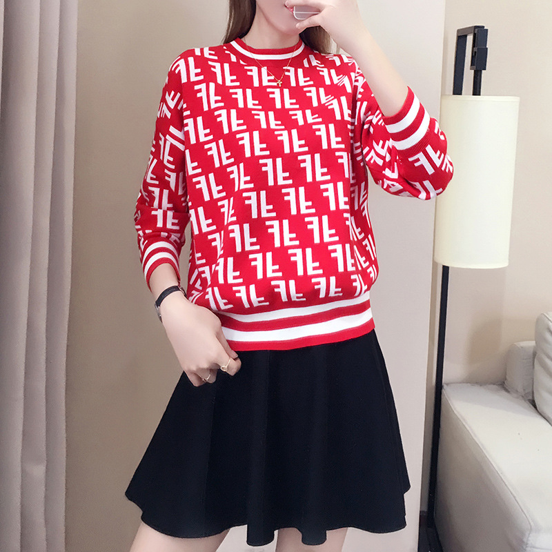 Knitted Pullover Women Sweaters New Spring Batwing Sleeve  Jacquard Letter Loose Knitwear Jumpers Pull Femme Womens Top