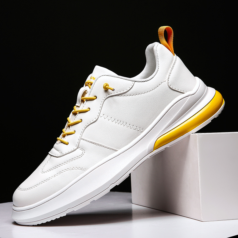 Hot Sale #e46b6 Popular Men Lace Up Sneakers White Yellow