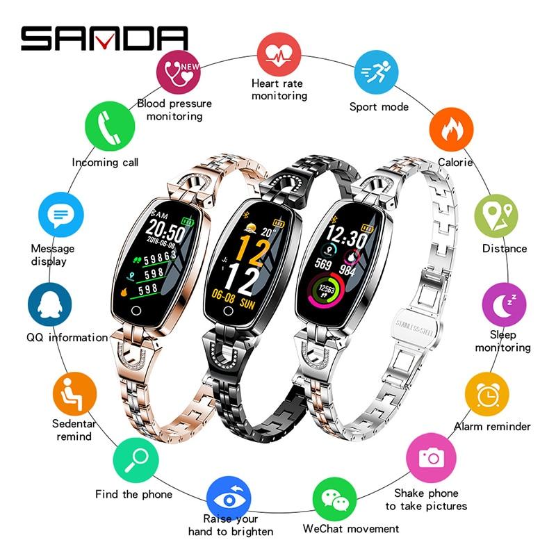 SANDA, новинка, Bluetooth, цветной экран, умные водонепроницаемые часы, многофункциональные, пульсометр, кровяное давление, мониторинг, спортивные