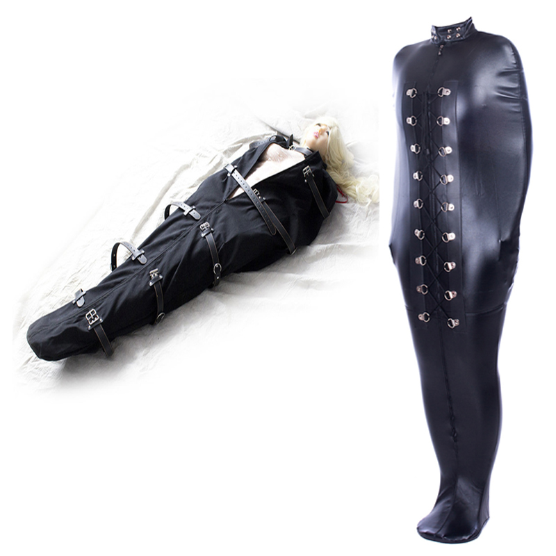 BDSM Sex Binding Mermaid Mummie Body Bondage Bag Sleep Bag Sack Leather Straight Jacket Tights Female Erotic Costume Exotic Sex