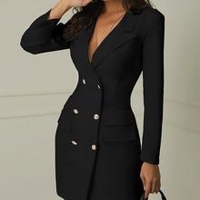 2019 double-breasted solid jacket V-neck slim jacket women's