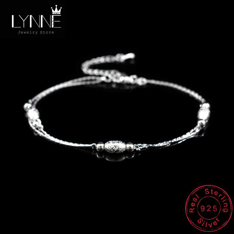 Hot Double Layer Oval Frosted Bead Pendant Anklets 925 Sterling Silver Ladies Ball Foot Chain Bracelets Women Fashion Jewelry