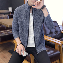 Fall and Winter 2019 Mens New Sweater Fashion Leisure Jacket Knitted Cardover Sweaters