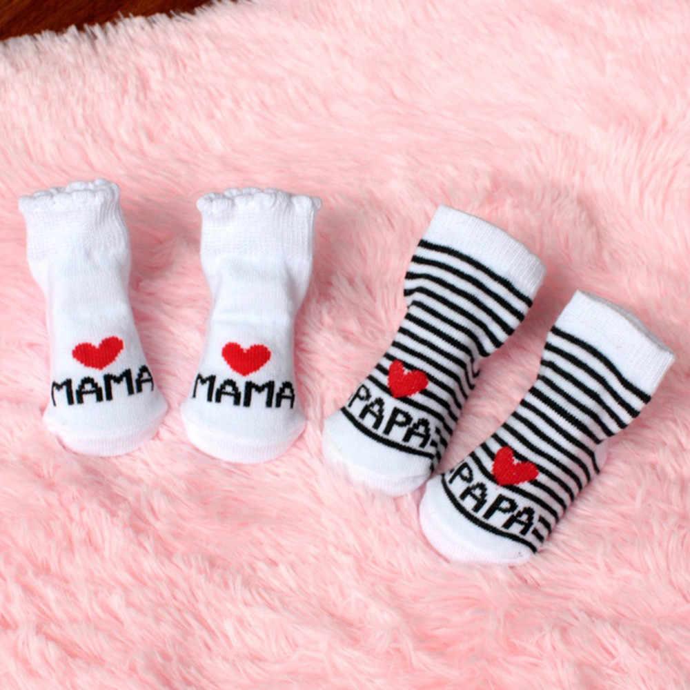 Calcetines antideslizantes para bebés y niñas calcetines con letras de amo a mamá y papá Calcetines para niños pequeños de algodón a rayas de moda infantil