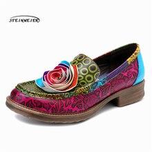 여성 정품 가죽 브로치 캐주얼 디자이너 빈티지 레트로 레이디 플랫 슬립 신발 여성을위한 수제 옥스포드 신발 2020 봄