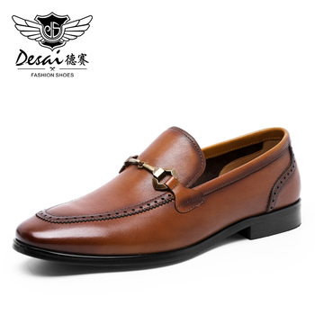 DESAI Men Loafer Shoes Top Quality Easy Wear Genuine Leather Fashion Casual Black Brown Boat Shoes For Men 2020