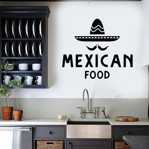 Mexican Fast Food Wall Decal Sombrero Spicy Logo Door Window Vinyl Stickers Restaurant Kitchen Interior Decor Art Wallpaper E888