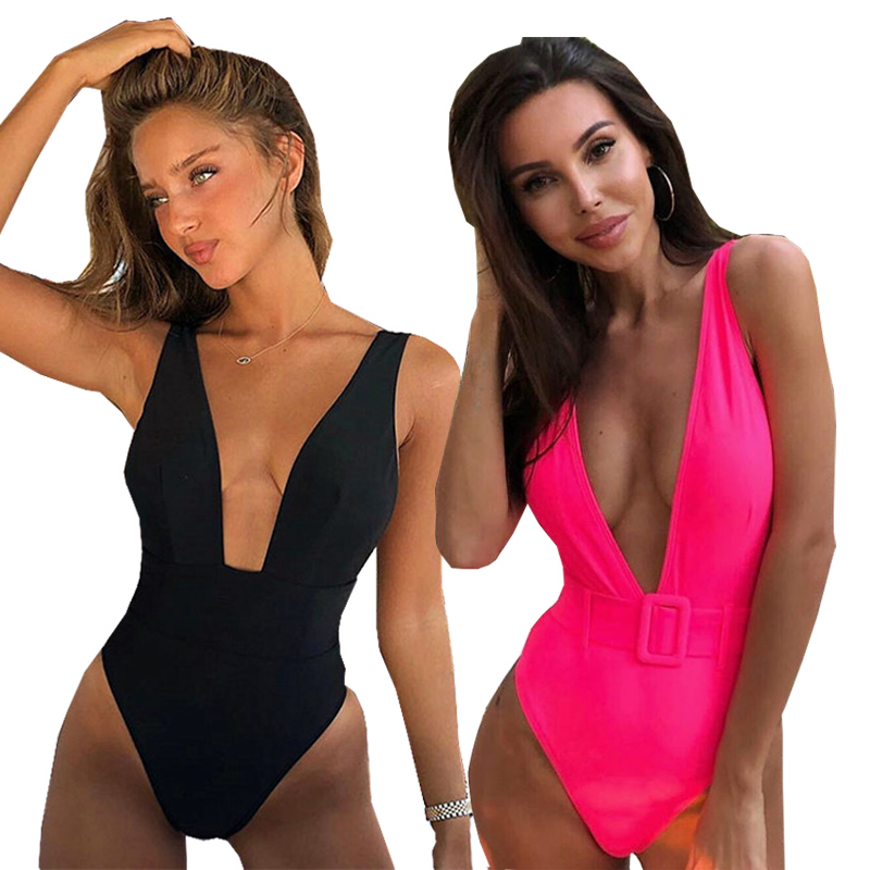 <font><b>Sexy</b></font> <font><b>2019</b></font> <font><b>One</b></font> <font><b>Piece</b></font> <font><b>Swimsuit</b></font> Female Solid Backless High Cut Bandage Black Women Swimwear Brazilian Monokini Bathing Suit image