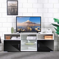 57'' Portable Detachable TV Stand Cabinet Console with LED Light Shelves 1 Drawers for Living Room White Wood Table US Shipping