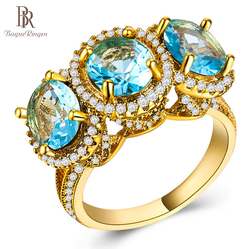 Charm-Ring Wedding-Rings Sapphire 925-Silver Gemstone Jewelry Engagement Golden-Color
