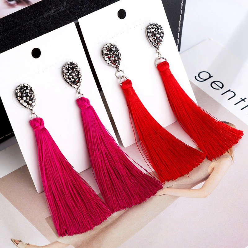 HOCOLE Fashion Bohemian Tassel Crystal Long Earrings White Red Silk Fabric Drop Dangle Tassel Earrings For Women 2019 Jewelry