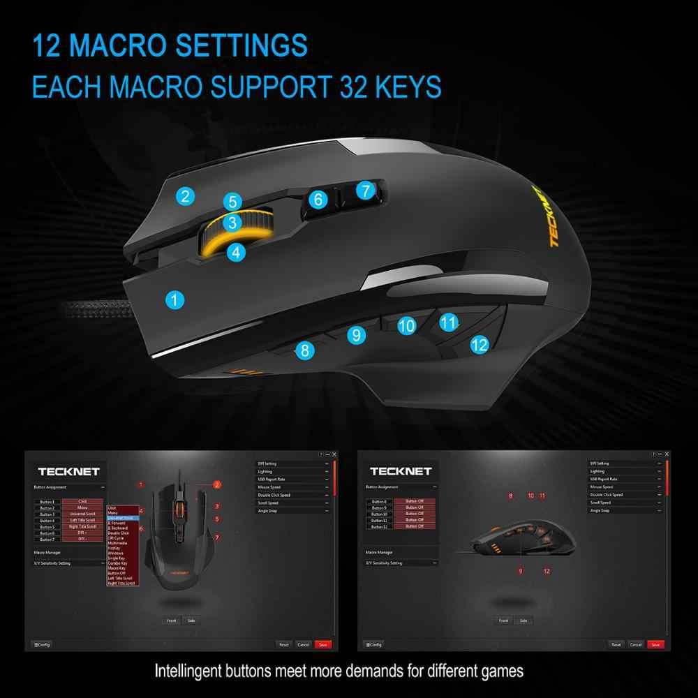 TeckNet 16400 ديسيبل متوحد الخواص الألعاب ماوس M009 الليزر ماوس 10 برمجة ماكرو RGB الخلفية 3 مصباح ليد وسائط السلكية MMO الكمبيوتر الفئران