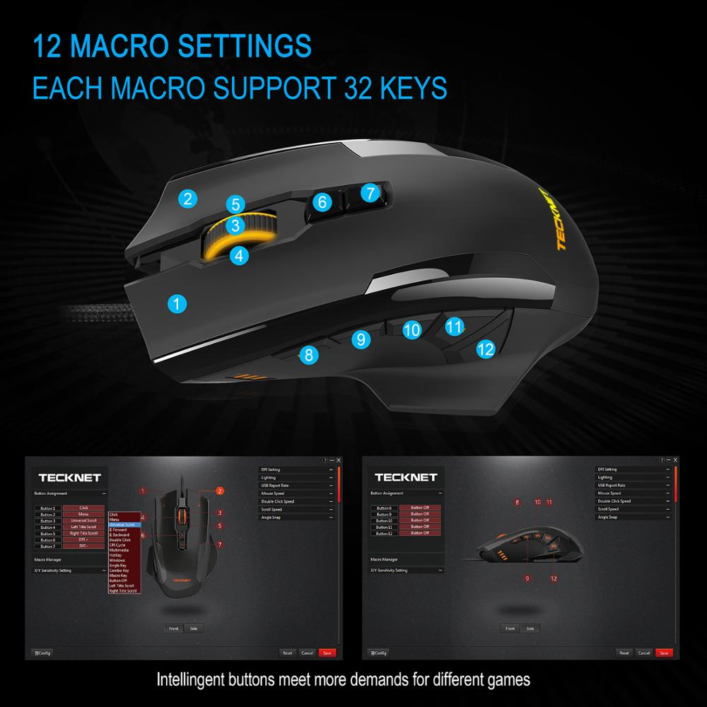 Image 4 - TeckNet 16400DPI Gaming Mouse M009 Laser Mouse 10 Programmable Macro RGB Backlight 3 LED Light Modes Wired MMO Computer Mice-in Mice from Computer & Office