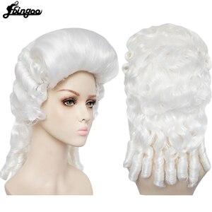 Image 2 - Ebinoo biały prawnik peruka barokowy kręcone kolonialne kobieta prawnik sędzia Deluxe historyczny kostium peruka syntetyczna Cosplay na Halloween
