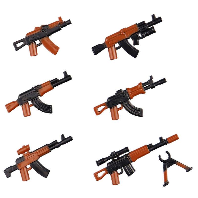 MOC Militare Armi Pistola Pacchetto di Polizia Della Città Swat LegoING Esercito WW2 Soldati di Mattoni Accessori PUBG Blocchi di Costruzione di Ricambio Giocattoli Per Bambini