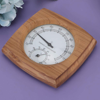 2 In 1 Sauna Room Household Humidity Meter Wooden Thermo Hygrometer Bathroom Spa Hot Tub Fahrenheit Dial Wall Hanging