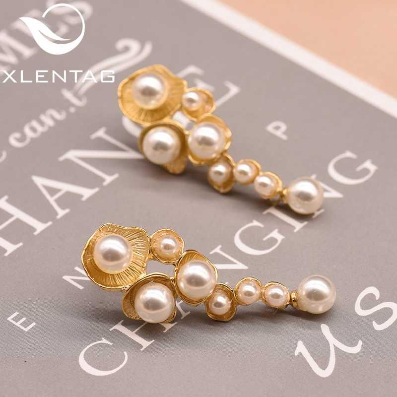 XlentAg biała muszla perła spadek kolczyki dla kobiet kobieta Handmade ślub pozłacane dynda kolczyk luksusowa biżuteria GE0330