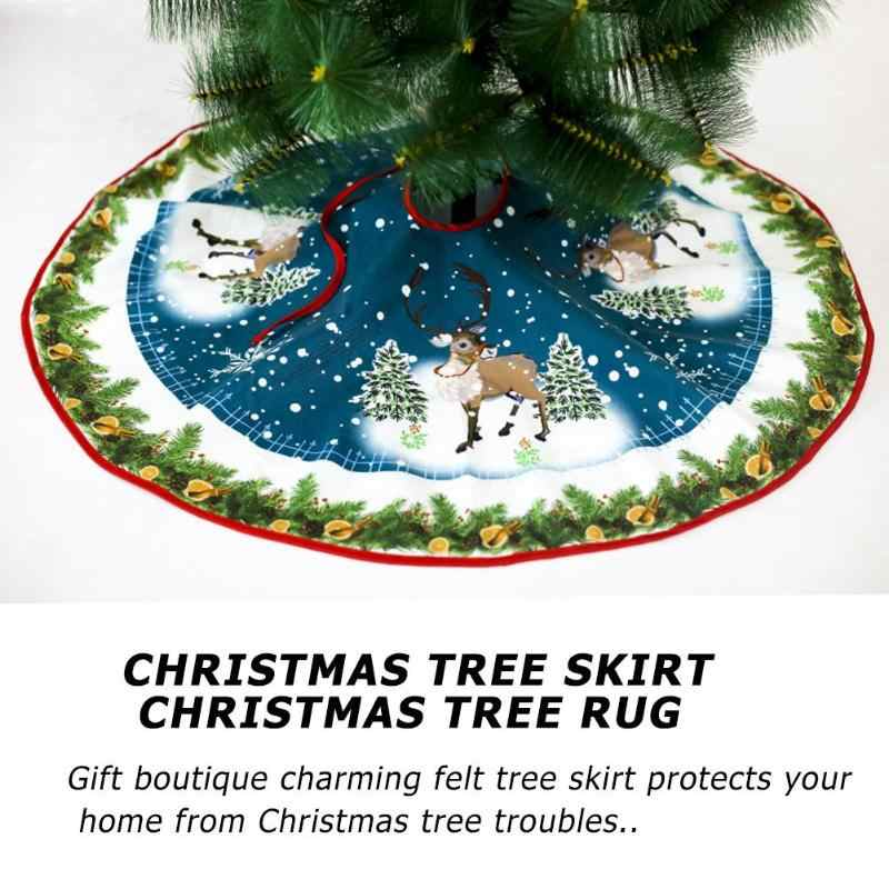 90cm no tejida árbol falda árbol de Navidad delantales alfombra redonda para casa piso Mat Decor Navidad natal Navidad para la decoración del hogar