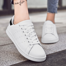 Damyuan Women's shoes Woman Leather Shoes New Fashion Casual Thin Solid Color PU Leather Shoes Woman Casual White Shoes Sneakers solid color pu thread men's casual shoes