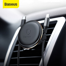 Baseus Magnetic Car Phone Holder Cable Organizer Air Vent Mount Stand W/ Cable Clip For Samsung Xiaomi 360 Rotation Auto Support
