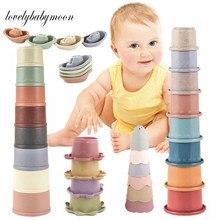 1 bebê arco-íris empilhamento copo brinquedos inteligência educacional precoce brinquedo dobrável torre brinquedos de banho crianças aniversário presente natal