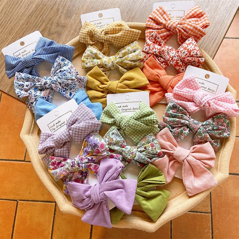 3 Pcs New Korean Fresh Simple Plaid Floral Fabric Bow Duckbill Clip Fashion Beautiful Girl Children Barrettes Hair Accessories
