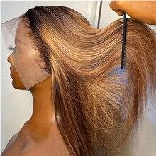 Perruque Bob Lace Frontal Wig naturelle, cheveux lisses, balayage coloré, ombré blond miel, 30 pouces, pre-plucked, pour femmes
