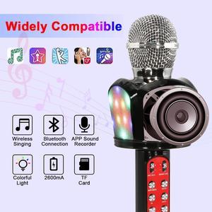 Novo bluetooth karaoke microfone sem fio portátil máquina de alto-falante com dança luzes led cantando gravador microfone altifalante