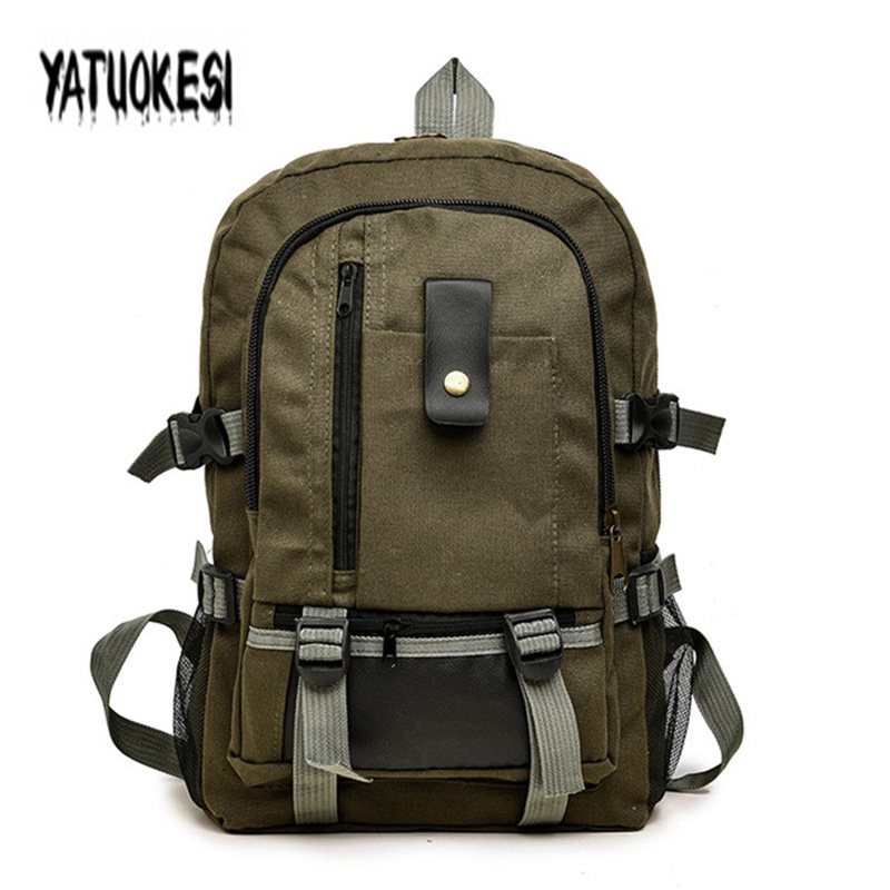 YATUOKESI Men's Canvas Backpack Travel Backpack For Teenagers Sport Rucksack School Hiking Bag Double-Shoulder Schoolbag Mochila