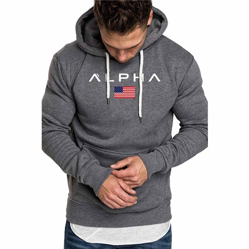 Spring Autumn Men's Hoodies Fashion Brand Sweatshirts Men Casual Sportswear Alpha Printed Hoodies Tops Men Long Sleeved Hoodies